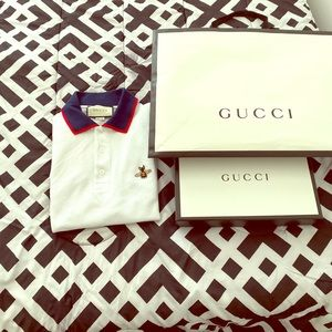 Gucci Bee-Embroidered Polo Shirt   Size XXL